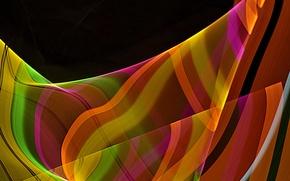 Картинка лучи, линии, полоса, цвет, изгиб, трассы