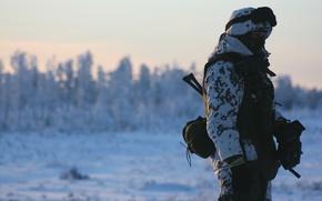 Картинка зима, снег, оружие, солдат