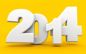 Картинка праздник, цифры, новый год, 2014, жёлтый фон