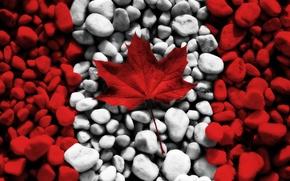 Картинка белый, красный, камни, креатив, камень, текстура, флаги, текстуры, канада, кленовый лист, canada, flags