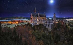 Картинка небо, звезды, ночь, природа, замок, germany, castle, herbst, lichtenstein