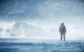 Обои зима, пейзаж, солдат, Battlefield 4