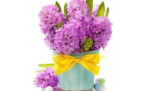Картинка фон, яйца, ваза, праздник пасха, цветы гиацинты