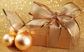 Картинка шарики, праздник, коробка, подарок, упаковка, рождество, золото, new year, новый год, бант, блестки, золотые, шары, ...
