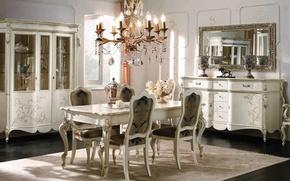 Картинка белый, стол, золото, мебель, стулья, интерьер, люстра, гостиная