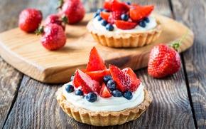 Обои blueberry, strawberry, fruit, торт, cream, десерт, dessert, сладкое, черника, фрукты, крем, еда, tart, клубника