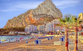 Картинка море, пляж, скала, отдых, гора, курорт
