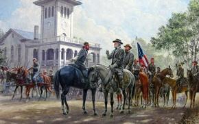 Картинка арт, Mort Kunstler, Гражданская война в США, Роберт Ли