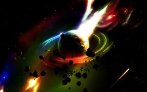 Картинка огонь, метеориты, сатурн