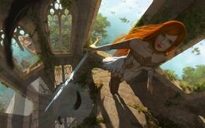 Обои оружие, взгляд, лестница, рыжая, природа, арт, окна, башня, девушка, меч, фантастика