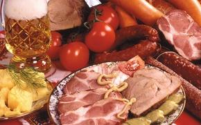 Картинка Мясные продукты, Ветчина, Еда, Колбаса, Помидоры, Пиво, фото