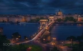 Картинка мост, огни, вечер, Будапешт