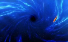 Картинка синий, рыбка, водоворот