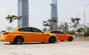 Обои BMW, Orange, Speed, Matte, Tuning, F10