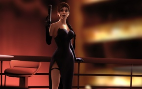 Картинка девушка, пистолет, волосы, красота, чулки, платье, красотка, lara croft, tomb raider