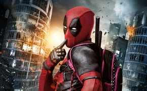 Обои Warner Bros. Pictures, Action, Sci-Fi, Towers, Guns, Pistols, Wade Wilson, Film, 2016, Eyes, Twentieth Century ...