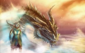 Картинка дракон, арт, довакин, Skyrim, раса, аргонианин, партурнакс