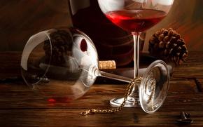 Картинка вино, красное, бутылка, бокалы, цепочка, шишки