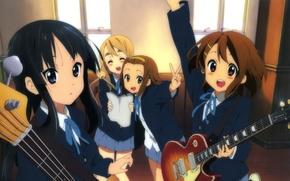 Картинка k-on!, anime, mio akiyama, yui hirasawa, tsumugi kotobuki, ritsu tainaka