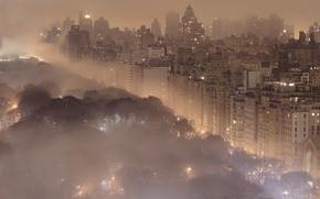 Картинка ночь, город, огни, туман, города, пейзажи, здания, Нью-Йорк, New York, central park, центральный парк