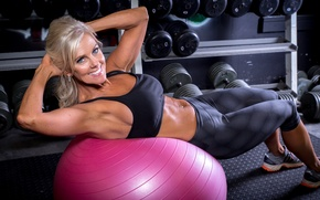 Картинка smile, workout, fitness, abs, training ball