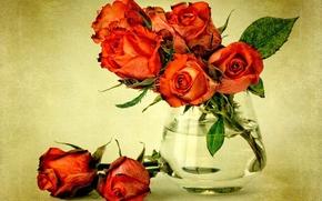 Картинка листья, вода, цветы, растение, розы, букет, красные, ваза, red, flowers, roses