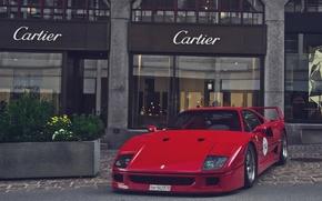 Картинка красный, Ferrari, red, F40, феррари, ф40