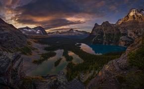 Картинка лес, небо, облака, горы, скалы, озера, Канада