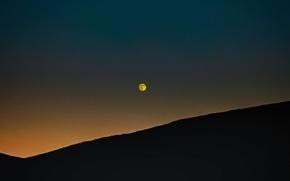 Картинка небо, закат, луна, вечер, холм