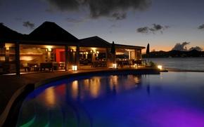 Картинка вилла, вечер, бассейн, luxury villa