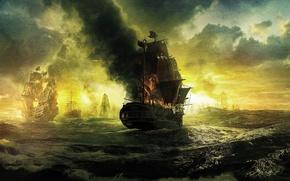 Обои море, волны, облака, огонь, корабли, паруса, Пираты Карибского моря, Pirates of the Caribbean, На странных ...