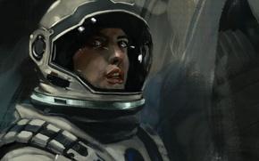 Картинка космонавт, скафандр, шлем, астронавт, Anne Hathaway, interstellar, Межзвёздный, Amelia Brand, нолан
