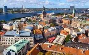 Картинка мост, река, дома, улицы, Рига, Латвия