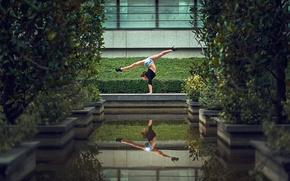 Обои отражение, танец, шпагат, растяжка, Samantha Ay