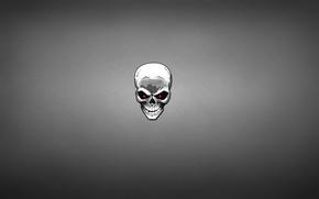 Картинка белый, череп, скелет, красные глаза, темноватый фон