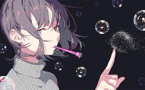 Обои капли, заметный план, Девушка, мыльные пузыри, водолазка