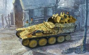 Картинка арт, солдаты, Немецкая, ЗСУ, Flakpazner 38(t), зенитная самоходная установка