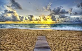 Обои море, пляж, небо, берег, дорожка