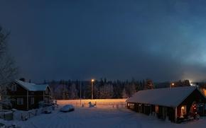 Обои Лапландия, рассвет, Финляндия, зима, снег, домики, утро