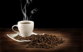 Обои стол, пар, чашка, напиток, кофе, горячий, блюдце, черный фон, зерна