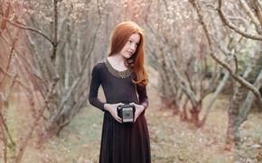 Картинка портрет, красота, девочка, фотоапарат