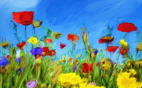 Картинка небо, цветы, рисунок, картина