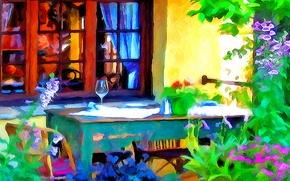 Картинка линии, цветы, стол, краски, бокал, интерьер, окно, двор, веранда