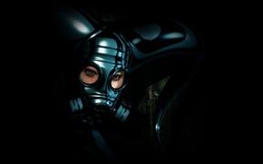 Обои шлем, маска, девушка, противогаз