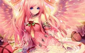 Обои девушка, ленты, крылья, аниме, арт, tachikawa mushimaro, bimo, shingeki no bahamut