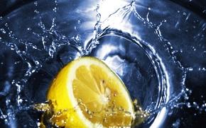 Обои лимон, вода, чай