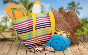 Картинка пляж, лето, отдых, полотенце, шляпа, очки, summer, сумка, beach, каникулы, sun, sand, сланцы, vacation, starfish, …