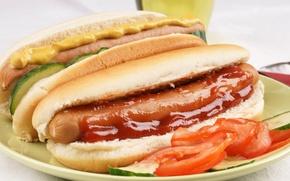Обои еда, помидор, кетчуп, сосиска, фаст фуд, булочка, fast food, горчица, хотдог, Макдоналдс, Mcdonalds, огирец, hot ...