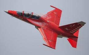 Картинка красный, полёт, самолёт, пилоты, Як-130, учебно-боевой, Yak-130