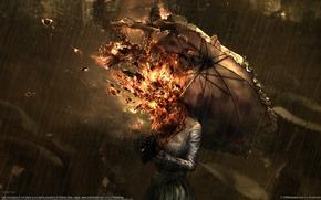 Обои зонт, дождь, огонь